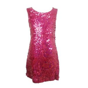 2cb503d5fc55 Details about Girls Sparkle Sequin Tunic Dress Cerise Trend Prom 60's Dance  Kids 4-14 Years