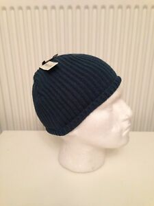85b406afb Details about BNWT MENS RIVER ISLAND WINTER BEANIE HAT GREEN RIBBED SKULL