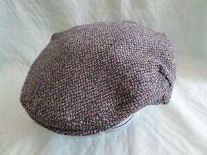 BLUE SCOTTISH HARRIS TWEED HAT HAND WOVEN 100% PURE WOOL FLAT CAP  59e726d409de