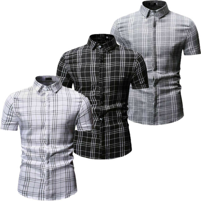 Fashion Men's Summer Casual Dress Slim Fit Shirt Short Sleeve Shirts Tops Tee