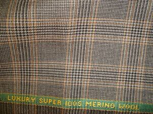 2-27-yds-Lowe-Donald-Peebles-Wool-Fabric-Super-100s-Suiting-9-oz-Plaid-82-034-BTP
