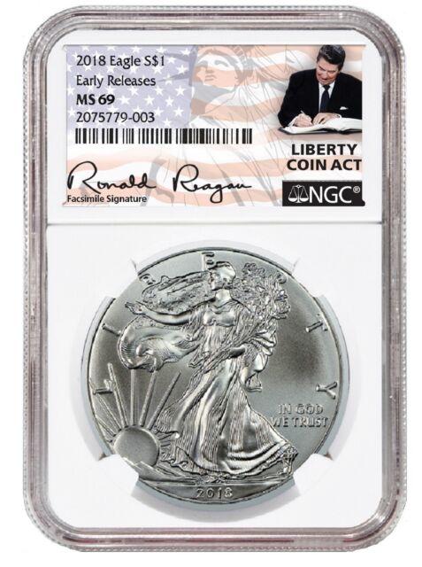 2018 1oz Silver American Eagle NGC MS69 ER Liberty Coin Act White Core