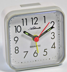 Atlanta-Reisewecker-Grau-Weiss-Quartz-Analog-Wecker-059-4-Neu-Alarm-Clock