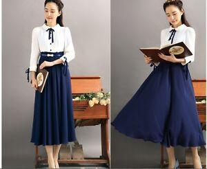 Korean Fashion 2018 Bowknot Decorated Women Maxi Long Chiffon Spring