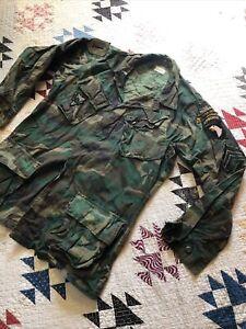 VIETNAM ERDL Camouflage Poplin Coat Rip Stop 1970 Class 2 Slant Pocket Jacket