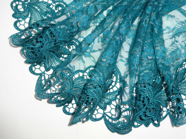 """PRIVATE LISTING FOR BELLENVOQUE Emerald Green Embroidered Lace Trim 9""""/23cm"""