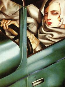 Self Portrait in the Green Bugatti : Tamara de Lempicka : Archival Art Print