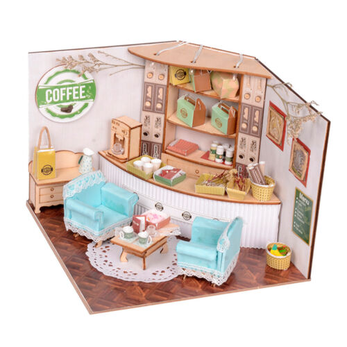 Romantic Coffee Shop Kids Gift DIY Dollhouse Miniature Furniture Kits