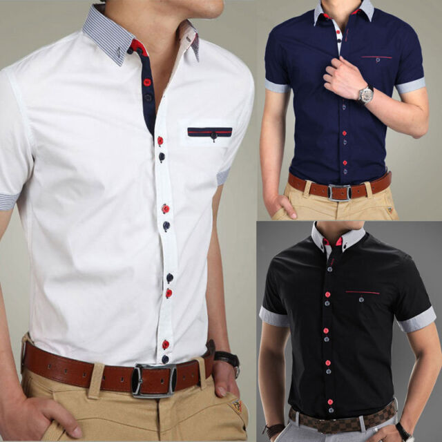 Men Slim Short Sleeve Casual Shirt  Formal T-Shirts Tee Top