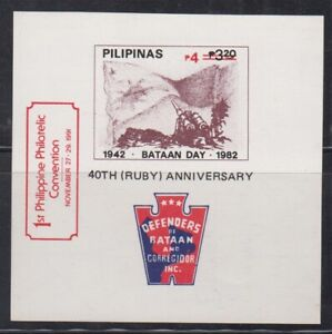 Philippine-Stamps-1991-Bataan-Day-Souvenir-Sheet-opvt-Philacon-I-MNH-complete