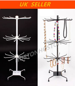 Rotating Metal 3 Tiers Stands Rack Jewelry Necklace Keyring Display 30 Hooks