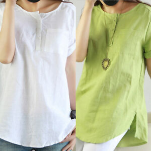Womens-Ladies-Short-Sleeve-Blouse-T-Shirt-Summer-Loose-Casual-Linen-Cotton-Tops