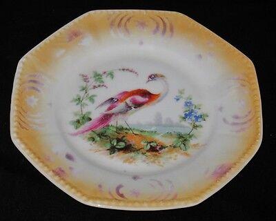 "Practical Og Germany Otto Gruenert Kahla #1 Bird 6"" Octagon Plate Iridescent Peacock"