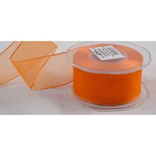 Orange Organza Cinta De Tela 38 mm Full 20m Roll por cable borde del Reino Unido 1.5 pulgadas