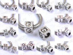 20/50/100pcs A-Z Letters Tibetan Silver quadrate Spacer Charm Beads Fit Bracelet