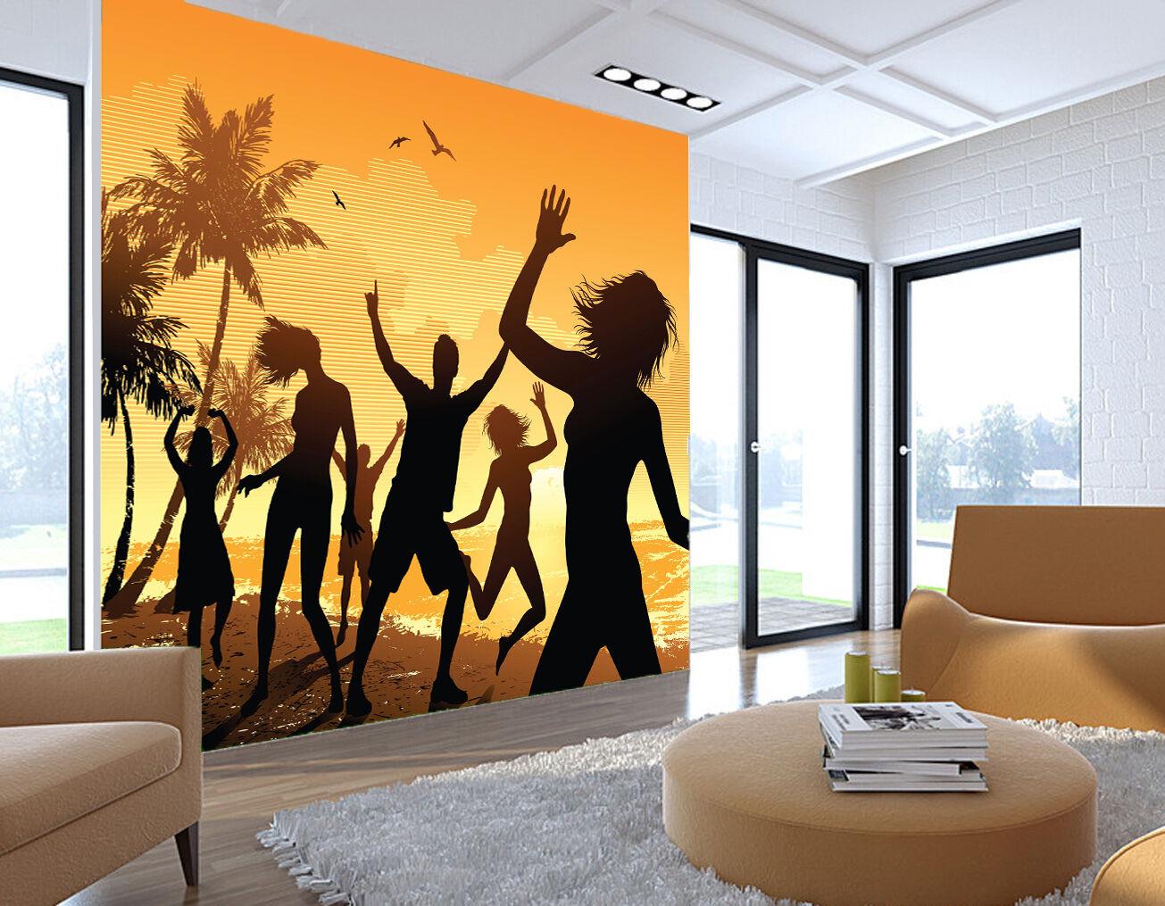 3D Beach Dancing People 115 WandPapier Decal Dercor Home Kids Nursery Mural  Home