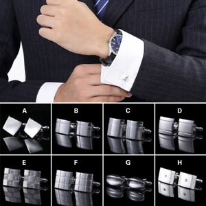 1-Pair-Men-Business-Stainless-Steel-Jewelry-Wedding-Party-Gift-Cuff-Links-Silver
