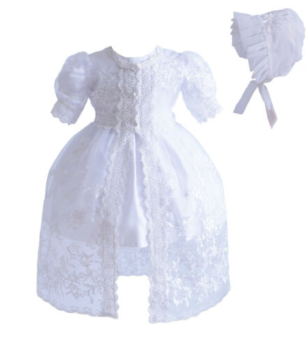 Baby 3 Piece White Lace Christening Gown Party Dress 0 3 6 12 18 24 Months