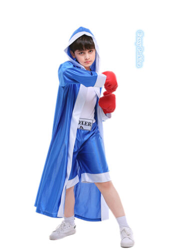 H4-4 Champ Child/'s Boxer Costume Book Week Boy/'s Sport Outfit Blue Red