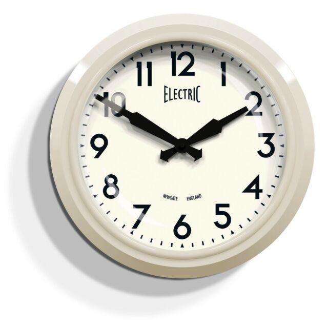 Newgate Clocks Electric Retro Round Cream Ogue Kitchen Livingroom Wall Clock