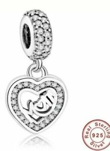 Loving Mother 925 Sterling Silver Plated dangle charm bead in velvet gift bag