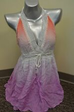 NEW VICTORIA'S SECRET OMBRE HALTER MINI TASSEL DRESS SWIM COVER UP PINK PURPLE S