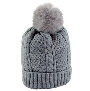 Cappello-Neonato-Invernale-con-Pon-Pon-0-12-mesi-berretto-inverno-Grigio-Trecce