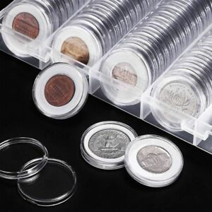 100-Luxury-30mm-Clear-Round-Plastic-Coin-Capsule-Newest-Available-Box-Holder-Hot