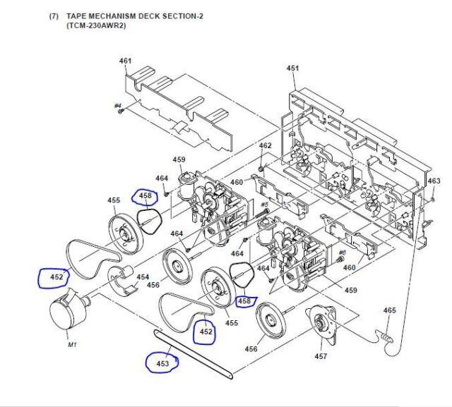 TCW285 Belt Kit For Cassette Deck 5 Belts Sony TC-W285