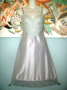 vintage blue satin lace bodice full dress slip 32