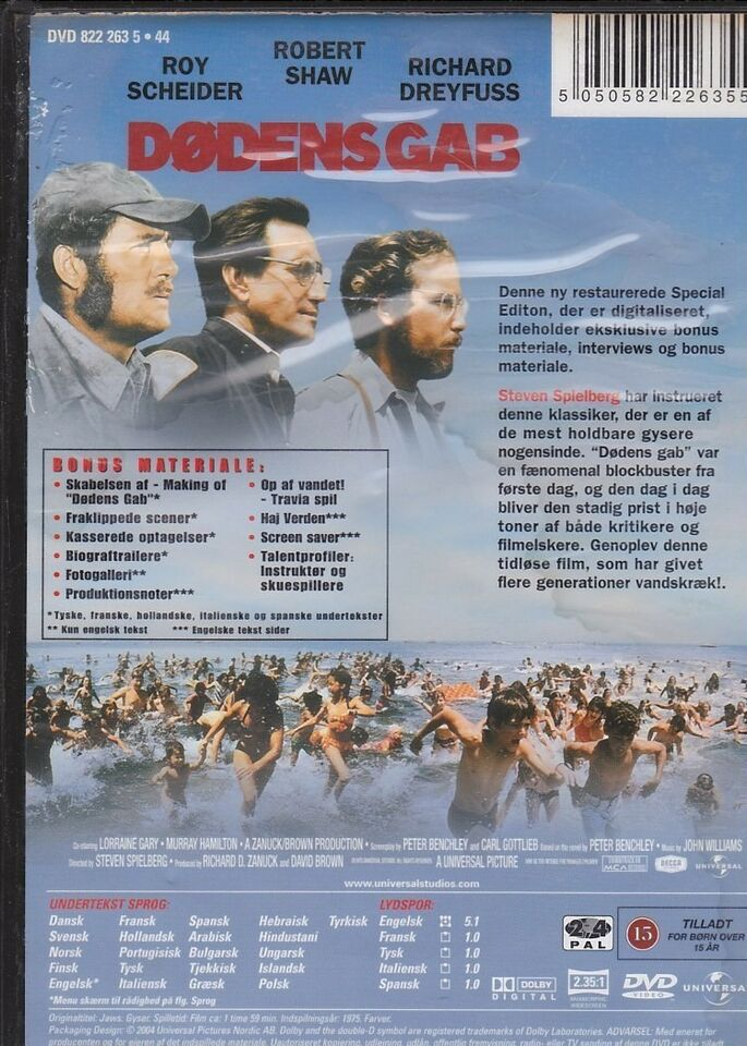 Dødens gab Jaws, instruktør Steven Spielberg, DVD
