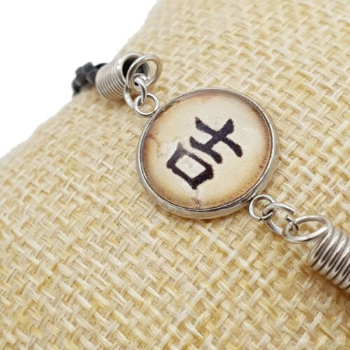 Bracciale Kanji Giapponese Scritta Ideogramma Simbolo Fortuna Nickel Free