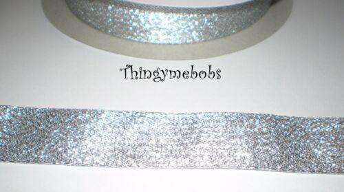 CRAFTS//CARD MAKING//CHRISTMAS 2m x 25mm METALLIC LUREX RIBBON SILVER