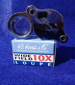 Model 1018 Magnifying Glass H E Harris 10x Wide Field Magnifier Loupe