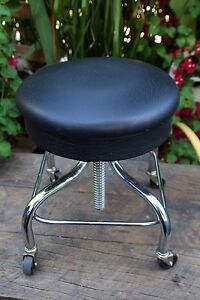 Pleasant Details About Vintage Pedigo Chrome Adjustable Black Stool Gamerscity Chair Design For Home Gamerscityorg