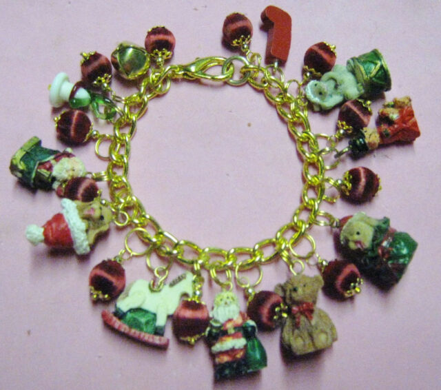 """CHRISTMAS TOYS""-CHARM BRACELET -ONE OF A KIND  HAND MADE"