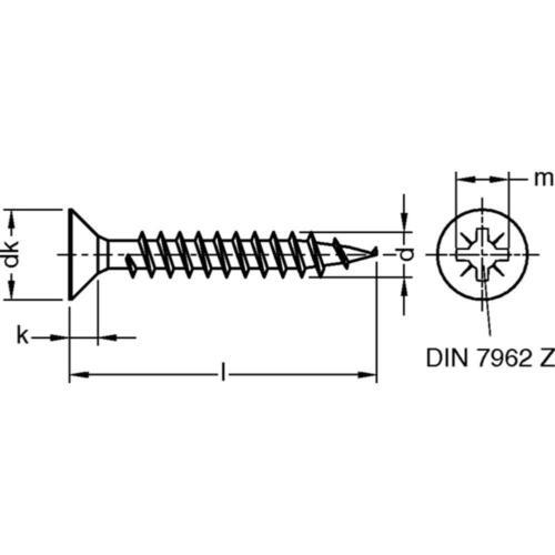 Jd-79 panneaux de particules vis senkkopf-z vollgewinde Acier galv rép jaune 3-4 MM