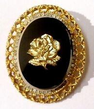 broche pendentif bijou vintage ancien camée de verre noir fleur couleur or *1993