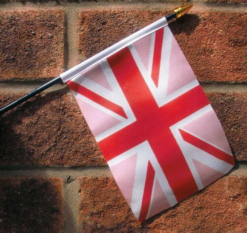 "UNION JACK PINK SMALL HAND WAVING FLAG 6/""X4/"" flags GAY PRIDE"
