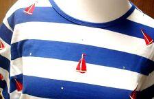 The Quacker Factory Womens Size L Large Sailboat Boat Striped Blue Shirt Top QVC