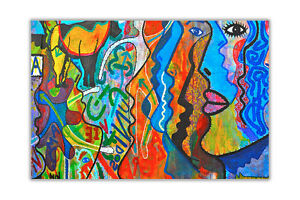 image is loading colourful abstract faces wall art decoration oil painting