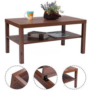 wood coffee end table rectangular modern living room furniture w storage shelf ebay. Black Bedroom Furniture Sets. Home Design Ideas