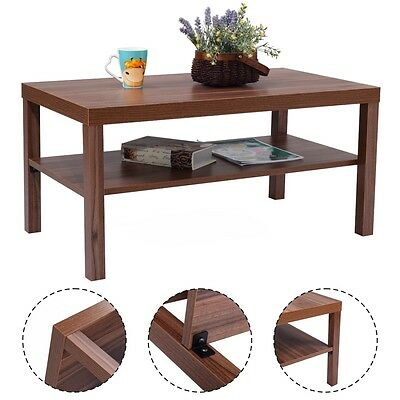 Wood Coffee End Table Rectangular Modern Living Room Furniture w/ Storage Shelf