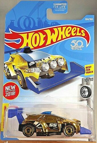 2018 Hot Wheels #304 Super Chromes 10/10 RISING HEAT Gold Chrome 50thAnniversary