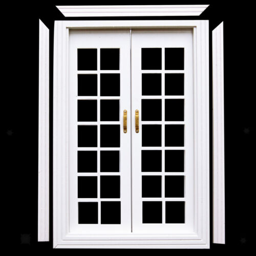 1//12 Doll House White Wood Exterior Double French Doors w// Door Trim DIY SET