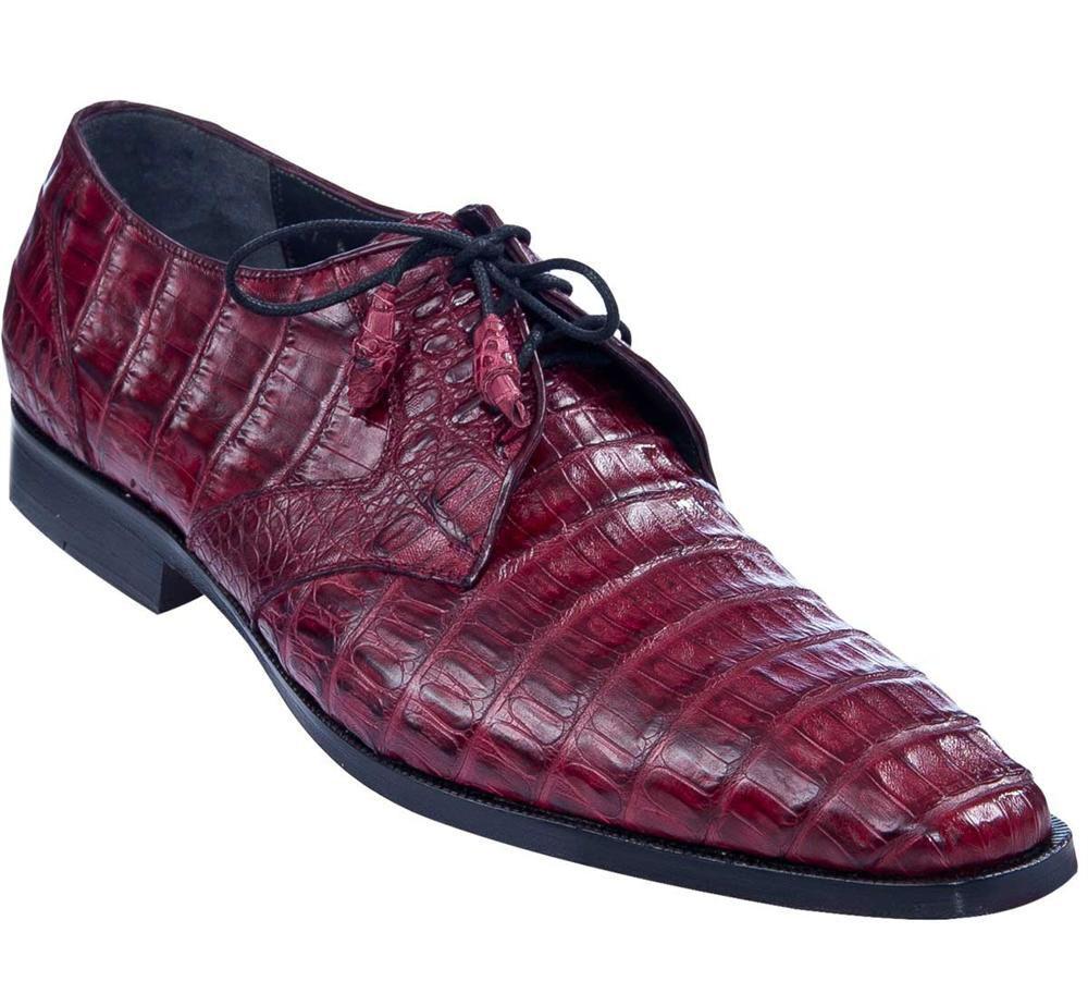 LOS ALTOS GENUINE BURGUNDY CROCODILE CAIMAN BELLY OXFORDS DRESS SHOE EE Scarpe classiche da uomo