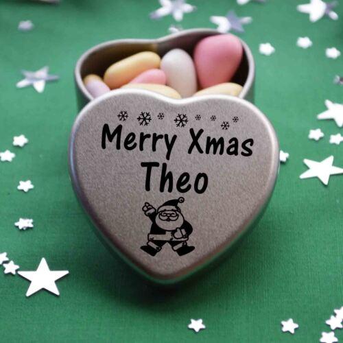 Merry Xmas Theo Mini Heart Tin Gift Present Happy Christmas Stocking Filler