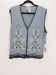 KORET-Women-039-s-Size-M-Sleeveless-Blue-Sweater-Vest-Top-Embroidered-Beads-Knit-NEW