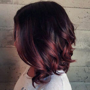 Details About Full Shine Lace Front Wig Short Wavy Color 1b Fading To Red Wine Balayage Hair