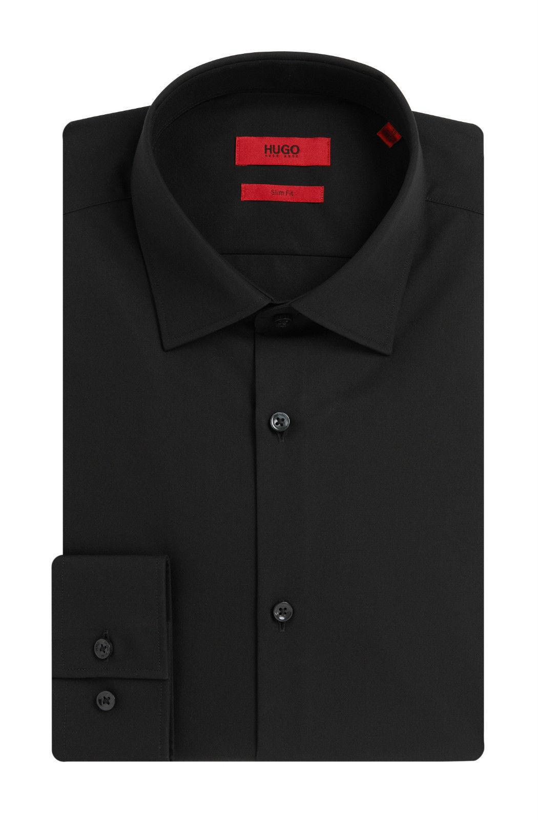 HUGO BOSS Hemd slim fit aus Baumwolle einfarbig schwarz Farbe: